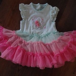 girls Little Me adorable pink green tutu dress